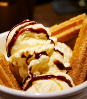 churro, dessert and ice cream