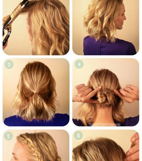 braided bun, bun and short hair