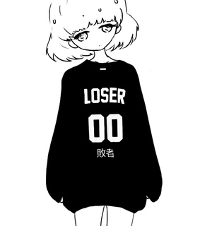 anime girl, black and white and cute