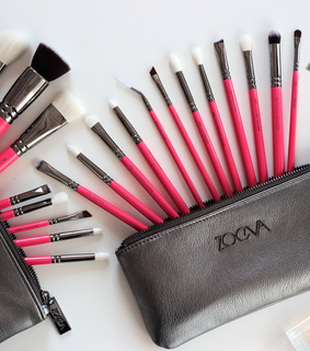 brushes, makeup and pink