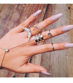 angel wing rings, silver rings and claw nails