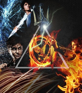 deathly hallows, harry potter and hunger games