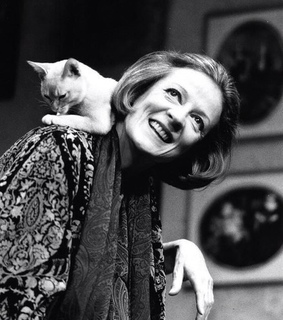 actress, black and white and cat