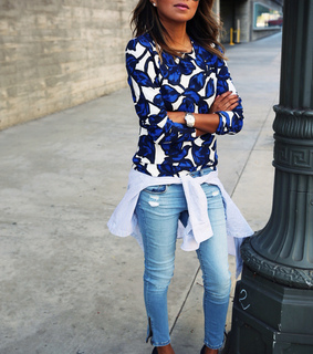 aviator, blouse and blue