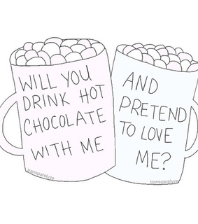 drawing, hot chocolate and love