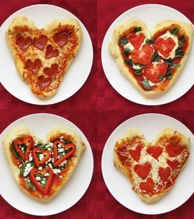 heart, pizza and yam