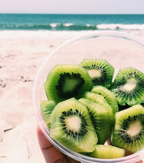 beach, cup and fruit