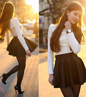 beauty, black and white and black skirt