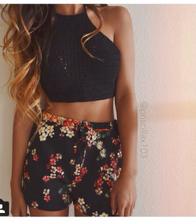 beautiful, crop top and curled hair