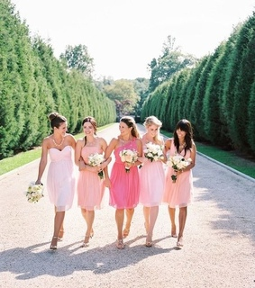 bridesmaid dresses, ombre pink and pastel color