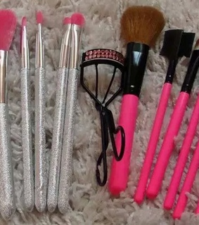 girly stuff, makeup brushes and pink collection