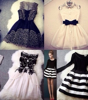 black, black and white and dresses