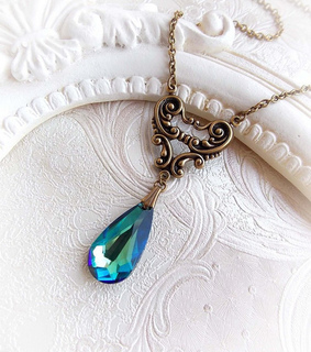 baroque necklace, crystal necklace and mermaid jewelry