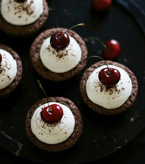 cherries, chocolate and chocolate cupcakes