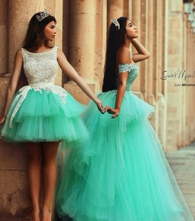 best friends, blue and dresses