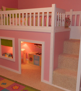 bunk bed, pink and play