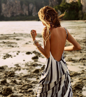 billabong, long dresses and ombre hair