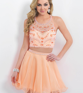 coral, two piece dress and Homecoming Dress 2015
