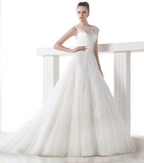 a-line wedding dress, elegant wedding dress and lace wedding dress