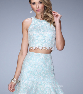 mint, two piece dress and Short Homecoming Dress 2015
