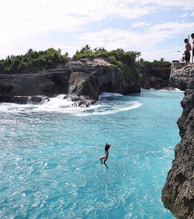 blue, cliff and jumping