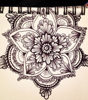 black and white, flower and mandala