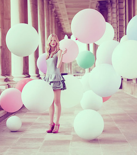 balloons, girl and muted colors