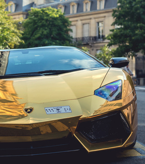 car, expensive and gold