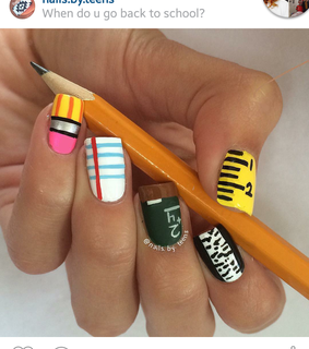 back to school, equipment and nail art