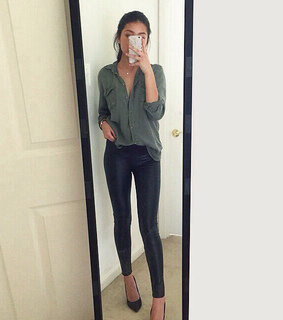 beautiful, black jeans and blouse