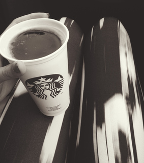 black and white, car and coffe