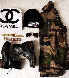 black, camouflage and chanel