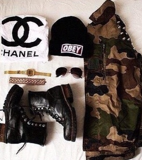 boot, cardigan and chanel