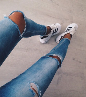 adidas, jeans and keds