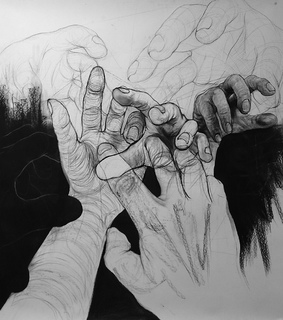 drawing, hands and reaching