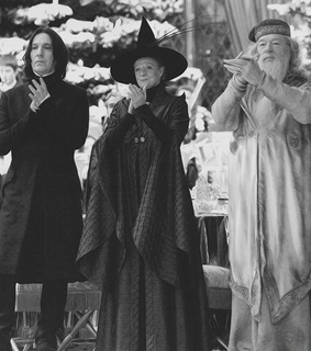 black and white, dumbledore and harry potter