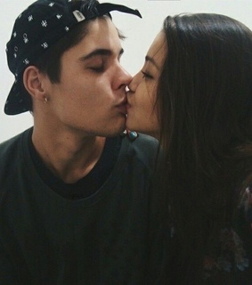 couple, hipster and kiss