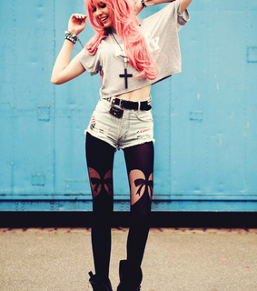 alternative, colored hair and girl style