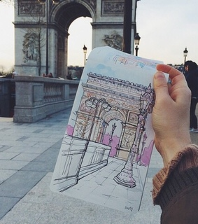 drawing, paris and see the world