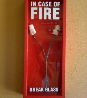 fire, glass and marshmellows