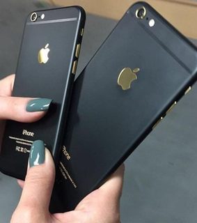 black, gold and iphone