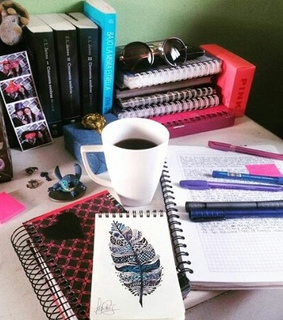 books, coffee and draw