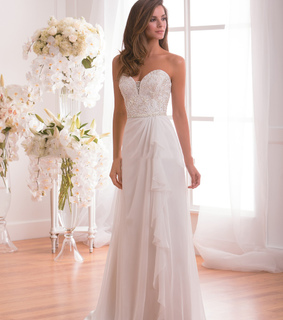 a-line wedding dress, chic wedding dress and long wedding dress