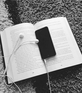 books, iphone and music