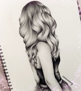 art drawing, black and white and dress