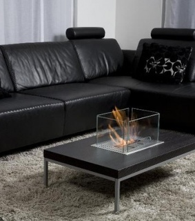 coffee table, fire pit and interior