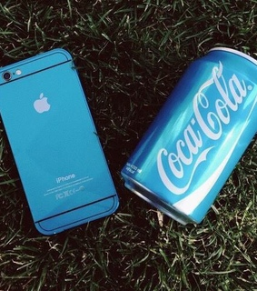 apple, blue and coca cola