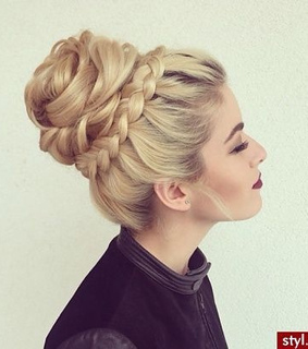 blonde, braided bun and dark lips