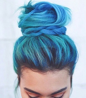 blue, braided bun and colourful