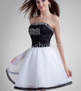 black white, cocktail dress and organza